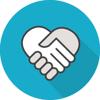 Animated image of handshake that looks like a heart